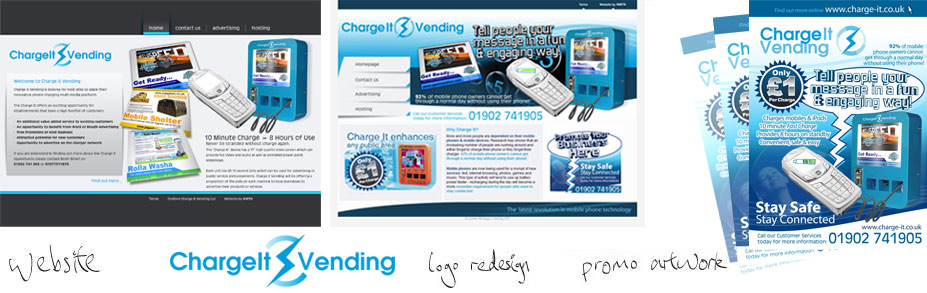 Charge-It Vending logo design and promotional materials for print campaign to accompany the website design of charge-it.co.uk
