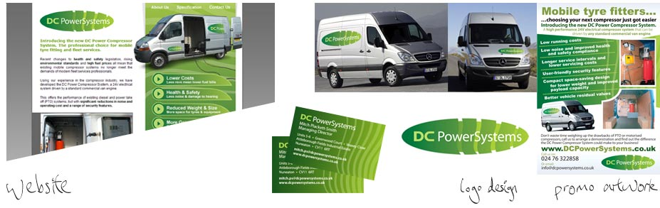 DC PowerSystems Ltd - I designed the logo, letterheads, business cards, van insignia and website.The company designs and installs air compressor units.