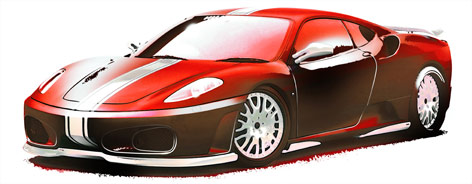 Race tuned Ferrari marker pen and airbrush artwork