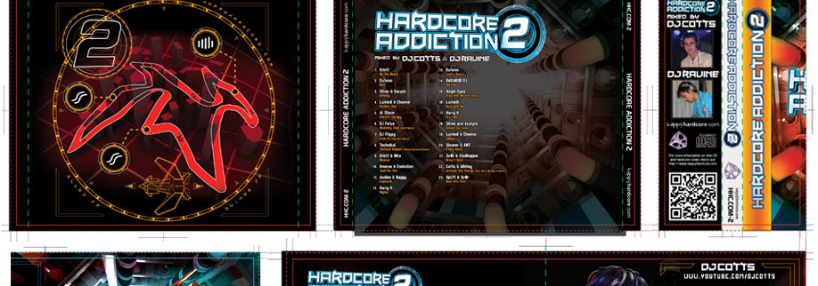 The inside graphic behind the where the CD sits is similar to a track loading screen from a racing game, displaying power-up bonuses and hazards around the course design. The rear of the cover is inside the LHC without the ships.