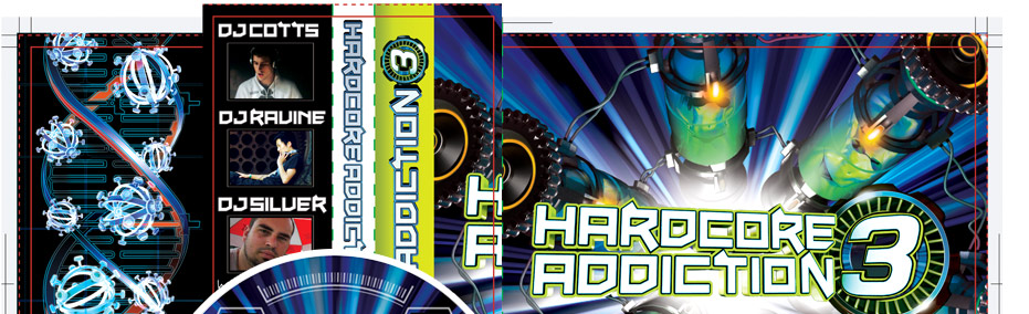 Hardcore Addiction 3 is a happy haprdcore mix album by DJ Cotts and DJ Ravine and features a bonus CD by DJ Silver. I'll post the thinking behind this artwork soon on here and once again there's method to the madness.