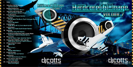 Hardcore Ch00nage 7 cover design for CD case. Artwork features Sydney harbour bridge and jet planes!