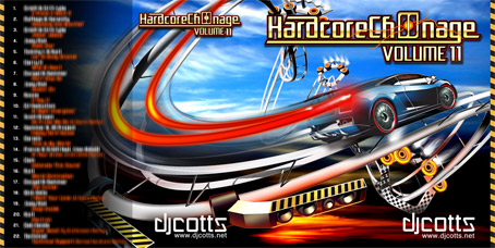 CD cover artwork design  for DJ Cotts Hardcore Ch00nage Volume 11. Tracklistings and bespoke happy hardcore themed graphics to fit CD case.