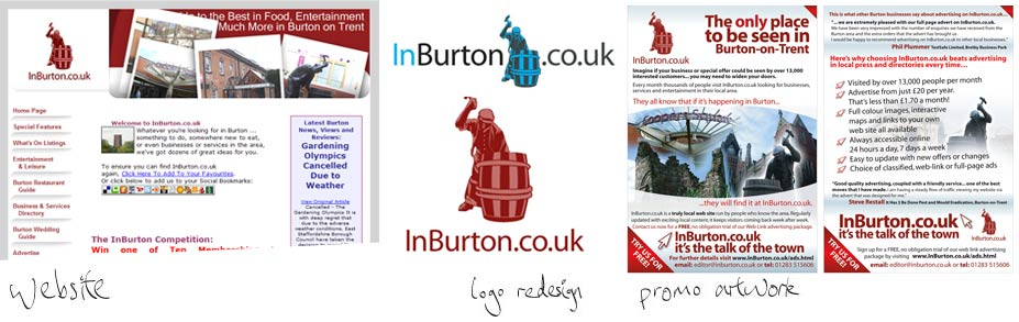 InBurton.co.uk - I designed the logo, letterheads, business cards, and the website make-over. InBurton.co.uk provides information residents of Burton-On-Trent. Since our assistance visitors to the site have leapt from 13,000 per month to 19,000 and rising.