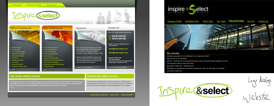 Inspire & Select required a brand redesign and an online 'business card type' presence to act as a point of contact for recruiters and employment candidates.