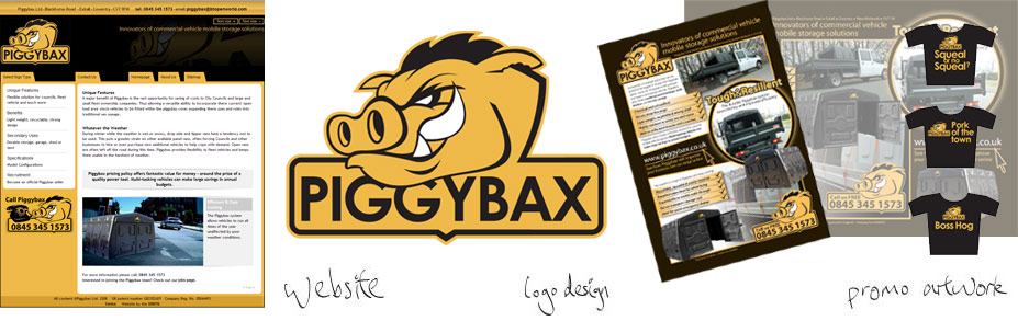 I designed the logo, letterheads, business cards, website and promotional material for Piggybax. The identity had to connote strength and resilience for the product, but the clients were also looking for a character or emblem that could be used on contractor's clothing/machinery to promote the brand of Piggybax.