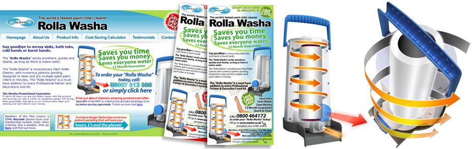 Washa required flyers, illustrations and flyer designs for the launch of their 'Rolla Washa' product. A sure fire hit with painters and decorators for cleaning their paint rollers in a fraction of the time.