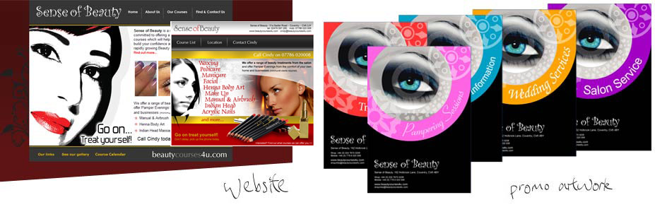 Sense of Beauty - Complete branding and implementation across marketing materials and corporate identity including a website. The company provides training courses and sought designs for manuals and promotional artwork.